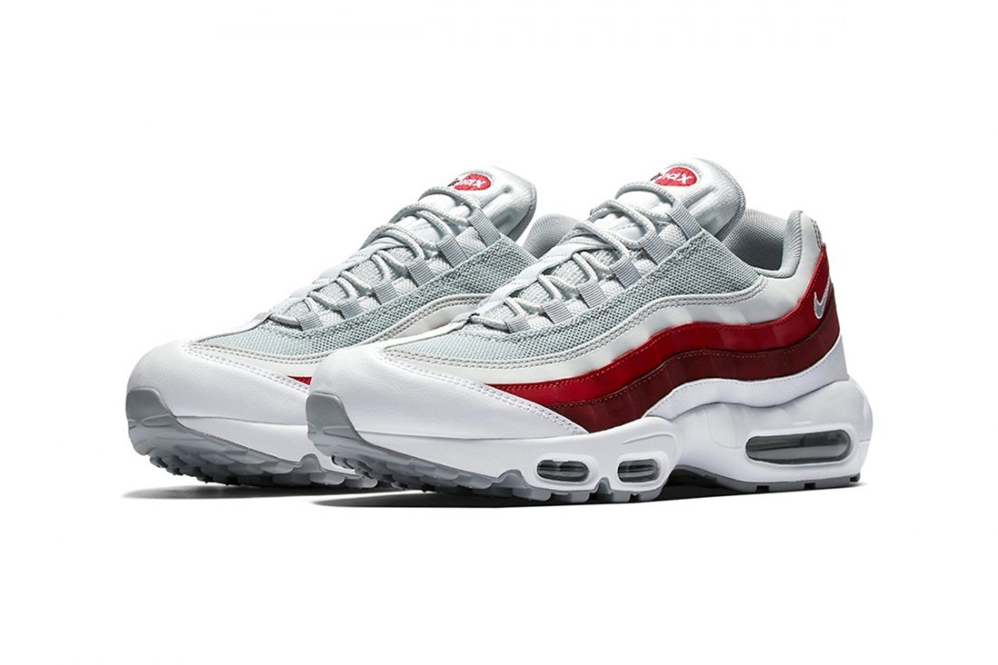 outlet store 0258c dc4c9 Air Max 95 Supreme ... Nike Air Max 95 Bleu Blanc Rouge Nike Air Max 95  Essential 749766 601 Chaussures Nike Prix Pas Cher Pour Homme Blanc Rouge